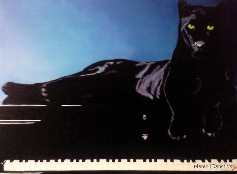 """BLACK PANTHER & HIS PIANO"" by Manuel Sanchez"