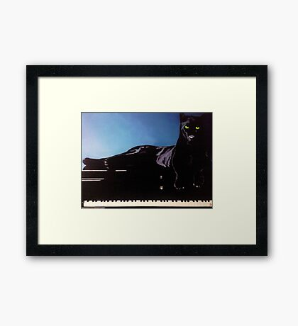 """BLACK PANTHER & HIS PIANO"" Framed Print"