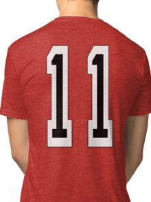 11, TEAM SPORTS NUMBER 11, Eleven, Eleventh, Competition Tri-blend T-Shirt