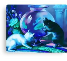 Kittens with Goldfishes Canvas Print