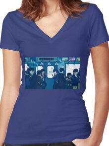 Rush Hour on the Tokyo Metro Women's Fitted V-Neck T-Shirt