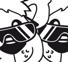 2 friends team crew cool sunglasses summer face head teddy bear party comic cartoon Sticker
