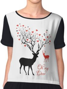 Oh my deer, stag with red hearts, design for Valentine's day, Christmas Chiffon Top
