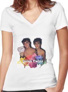 Dolan Twins- paint splat shirtless cartoon Women's Fitted V-Neck T-Shirt