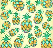 Pineapple Pastel Colors Pattern by BluedarkArt
