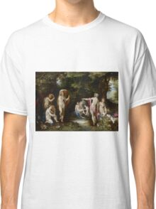 Jan Brueghel The Elder - Diana And Actaeon 1600. Vintage surrealism oil famous painting : lovely, woman ,  fantastic, diana, nude, beautiful, wonderful. Classic T-Shirt