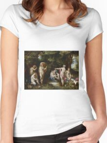 Jan Brueghel The Elder - Diana And Actaeon 1600. Vintage surrealism  oil famous painting : lovely, woman ,  fantastic, diana, nude, beautiful, wonderful. Women's Fitted Scoop T-Shirt