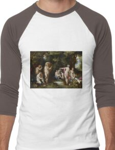 Jan Brueghel The Elder - Diana And Actaeon 1600. Vintage surrealism oil famous painting : lovely, woman ,  fantastic, diana, nude, beautiful, wonderful. Men's Baseball ¾ T-Shirt