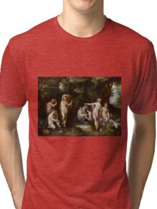 Jan Brueghel The Elder - Diana And Actaeon 1600. Vintage surrealism  oil famous painting : lovely, woman ,  fantastic, diana, nude, beautiful, wonderful. Tri-blend T-Shirt
