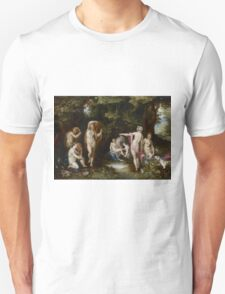 Jan Brueghel The Elder - Diana And Actaeon 1600. Vintage surrealism  oil famous painting : lovely, woman ,  fantastic, diana, nude, beautiful, wonderful. Unisex T-Shirt