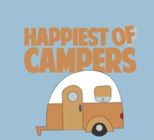 Happiest of Campers Retro themed Orange Camper One Piece - Short Sleeve