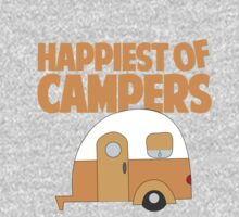 Happiest of Campers Retro themed Orange Camper Kids Tee