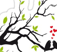 Birds in love with red hearts on spring tree Sticker