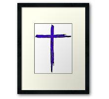 JESUS CROSS CHRISTIAN GOD LOVE CRUCIFIX CALVARY HEAVEN EASTER BLUE Framed Print