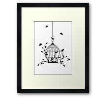 Free birds with open birdcage Framed Print