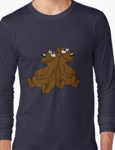 2 buddies brothers team few chill relax great funny sitting thick grizzly bear comic cartoon Long Sleeve T-Shirt