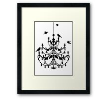 Vintage chandelier with birds Framed Print