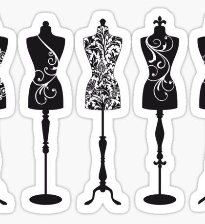Vintage fashion mannequins silhouettes Sticker
