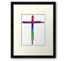 JESUS CROSS CHRISTIAN GOD LOVE CRUCIFIX CALVARY HEAVEN EASTER RAINBOW Framed Print