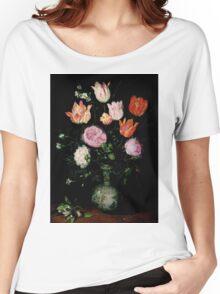 Jan Brueghel The Elder - Flowers In A Wan- Li Vase 1609. Vintage surrealism oil famous painting : still life with flowers, flowers, peonies, roses, tulips, floral flora, wonderful flower. Women's Relaxed Fit T-Shirt