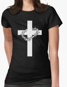 JESUS CROSS AND THORNS CHRISTIAN GOD LOVE CRUCIFIX CROWN CATHOLIC CALVARY HEAVEN EASTER Womens Fitted T-Shirt