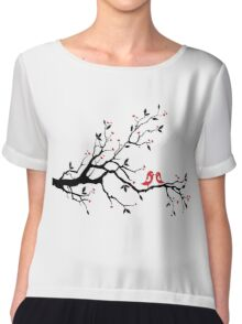 Kissing birds on love tree with red hearts Chiffon Top