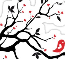 Kissing birds on love tree with red hearts Sticker