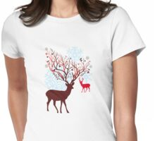 Christmas deer with tree branch antlers and birds Womens Fitted T-Shirt
