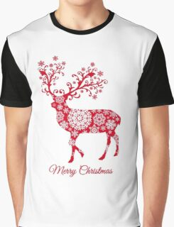 Christmas deer with snowflakes pattern Graphic T-Shirt