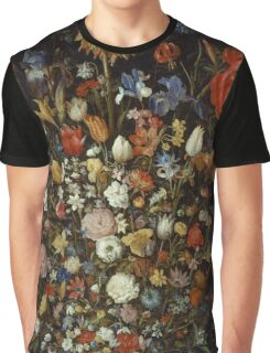 Jan Brueghel The Elder - Flowers In A Wooden Vessel . Vintage surrealism oil famous painting : still life with flowers, flowers, peonies, roses, tulips, floral flora, wonderful flower. Graphic T-Shirt