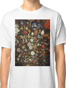 Jan Brueghel The Elder - Flowers In A Wooden Vessel . Vintage surrealism oil famous painting : still life with flowers, flowers, peonies, roses, tulips, floral flora, wonderful flower. Classic T-Shirt