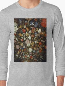 Jan Brueghel The Elder - Flowers In A Wooden Vessel . Vintage surrealism  oil famous painting : still life with flowers, flowers, peonies, roses, tulips, floral flora, wonderful flower. Long Sleeve T-Shirt