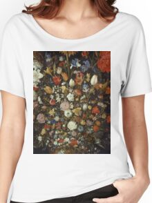 Jan Brueghel The Elder - Flowers In A Wooden Vessel . Vintage surrealism  oil famous painting : still life with flowers, flowers, peonies, roses, tulips, floral flora, wonderful flower. Women's Relaxed Fit T-Shirt