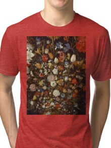Jan Brueghel The Elder - Flowers In A Wooden Vessel . Vintage surrealism  oil famous painting : still life with flowers, flowers, peonies, roses, tulips, floral flora, wonderful flower. Tri-blend T-Shirt