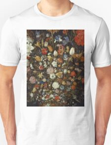 Jan Brueghel The Elder - Flowers In A Wooden Vessel . Vintage surrealism  oil famous painting : still life with flowers, flowers, peonies, roses, tulips, floral flora, wonderful flower. Unisex T-Shirt
