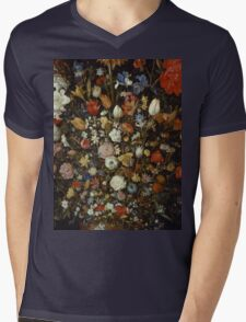Jan Brueghel The Elder - Flowers In A Wooden Vessel . Vintage surrealism  oil famous painting : still life with flowers, flowers, peonies, roses, tulips, floral flora, wonderful flower. Mens V-Neck T-Shirt