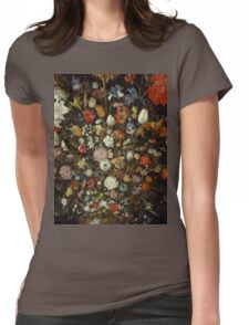 Jan Brueghel The Elder - Flowers In A Wooden Vessel . Vintage surrealism oil famous painting : still life with flowers, flowers, peonies, roses, tulips, floral flora, wonderful flower. Womens Fitted T-Shirt