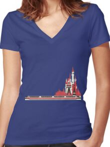 Monorail Castle Women's Fitted V-Neck T-Shirt