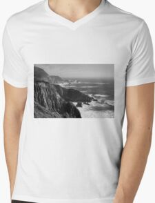 Big Sur Coast BW  Mens V-Neck T-Shirt