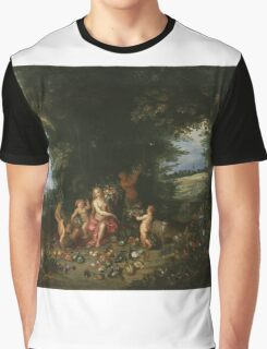 Jan Brueghel - Landscape With Ceres. Vintage surrealism  oil famous painting : goddess Ceres, garden, floral flora, still life with fruits and vegetables, fruit, vegetable, wonderful flowers. Graphic T-Shirt