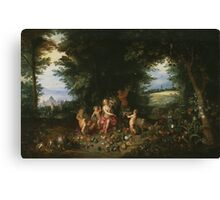 Jan Brueghel - Landscape With Ceres. Vintage surrealism  oil famous painting : goddess Ceres, garden, floral flora, still life with fruits and vegetables, fruit, vegetable, wonderful flowers. Canvas Print