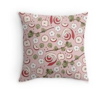 Pink Apples Throw Pillow