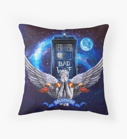 The Angel with time travel Box Throw Pillow