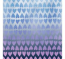 Painted Heart Pattern - Blue Photographic Print