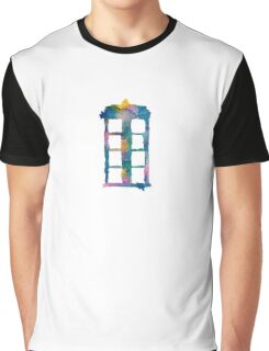 Watercolor Tardis (white) Graphic T-Shirt