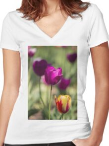 Study of Tulips Women's Fitted V-Neck T-Shirt