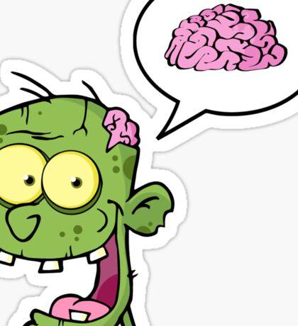 Zombie Brains funny Cartoon Graphic Sticker