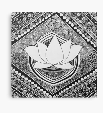 Lotus Pen and Ink Zentangle  Canvas Print