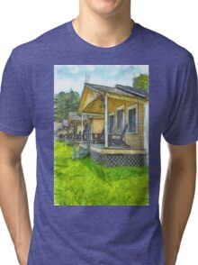 Row of vintage yellow rental cottages Pencil Tri-blend T-Shirt