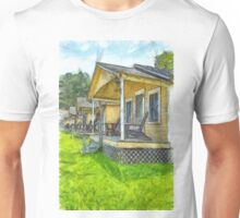Row of vintage yellow rental cottages Pencil Unisex T-Shirt